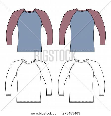 Long Sleeve Raglan T-shirt Outlined Template (front & Back View), Vector Illustration Isolated On Wh