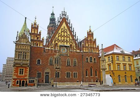 Market square and facade of Town Hall in Wroclaw city Poland poster
