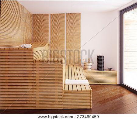 home spa sauna inteiror. 3d rendering design