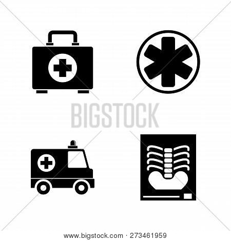 Medical, Ambulance Emergency. Simple Related Vector Icons Set For Video, Mobile Apps, Web Sites, Pri