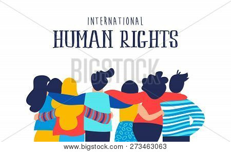International Human Rights Month Illustration For Global Equality And Peace With Diverse People Frie