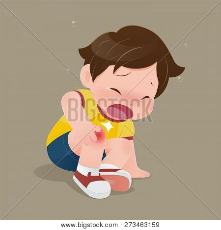 The Boy In Yellow Shirt Suffering From Pain In Knee, Illustration Of Child Have Accident Slipping On