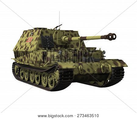 Heavy German Tank Destroyer Elefant Isolated On White Background, 3d Render