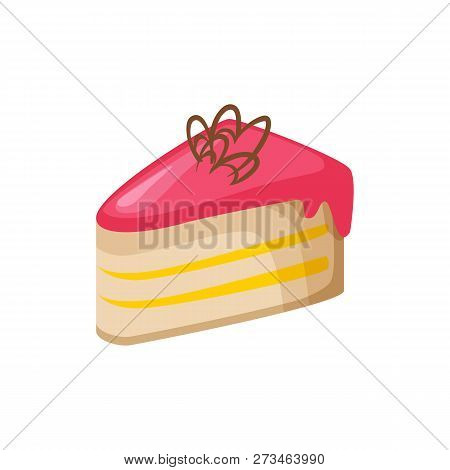 Pink Pie Illustration. Pink, Frosting, Biscuit. Food Concept. Vector Illustration Can Be Used For To