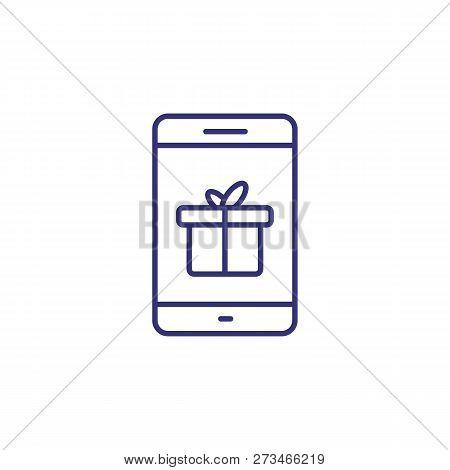 Mobile Gift Line Icon. Mobile App, Gift Message, Online Shopping. Christmas Concept. Vector Illustra