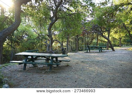Relaxing Area Inside Philopappos Hill In Athens