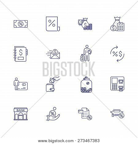 Banking Icon Set. Set Of Line Icons On White Background. Money Concept. Bank, Saving, Banknote. Vect
