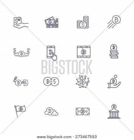 Crypto Currency Icon Set. Set Of Line Icons On White Background. Purse, Bitcoin, Bank. Crypto Curren