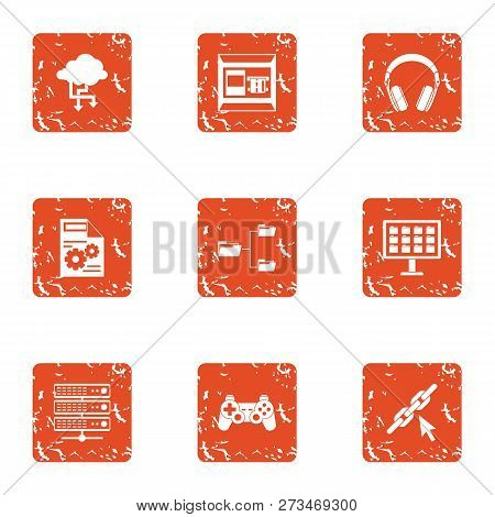 Date Advice Icons Set. Grunge Set Of 9 Date Advice Icons For Web Isolated On White Background