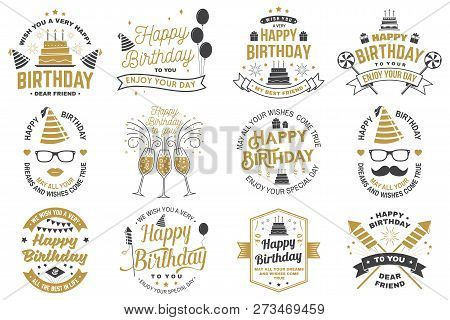 poster of Set of Happy Birthday templates for overlay, badge, sticker, card with bunch of balloons, gifts, firework rockets and birthday cake with candles. Vector. Vintage design for birthday celebration