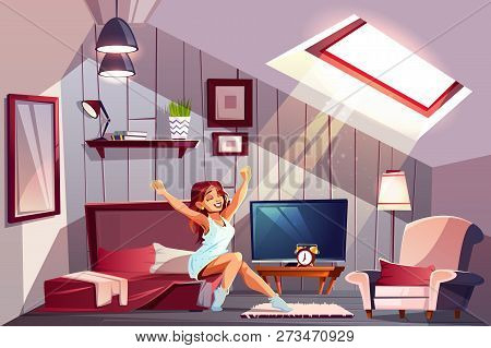 Healthy Sleep Cartoon Vector Concept With Happy Smiling Woman In Nightie, Sitting On Bed And Stretch