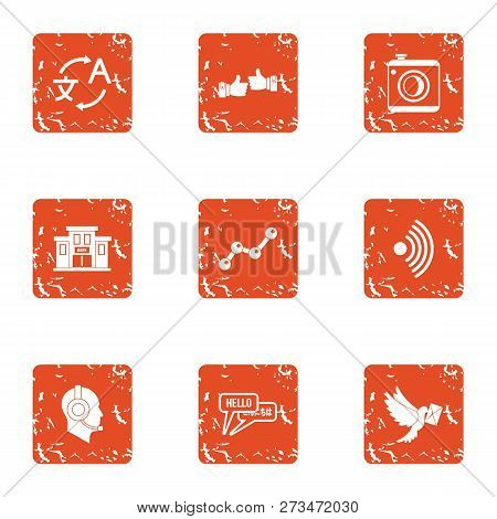 Conversion Icons Set. Grunge Set Of 9 Conversion Icons For Web Isolated On White Background