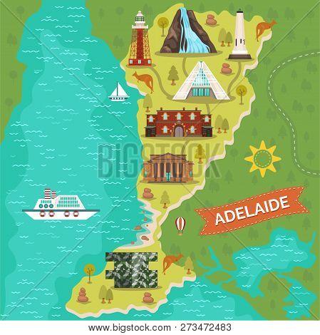 Map Of Adelaide Town Or City. Australian Landmark Journey Or Travel Banner. Port And Darenberg Cube