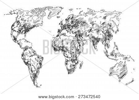Hand drawn world map, sketch of planet earth atlas. North and South America, Africa and Eurasia, Australia and Antarctica continents and world ocean. Globe wallpaper. Travel and geography theme poster