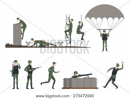 Set Of Isolated Soldiers At Training. Man In Camouflage Crawling And Holding Gun, Army Marine Climbi