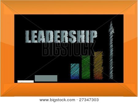 leadership word in white chalk on a blackboard - illustration