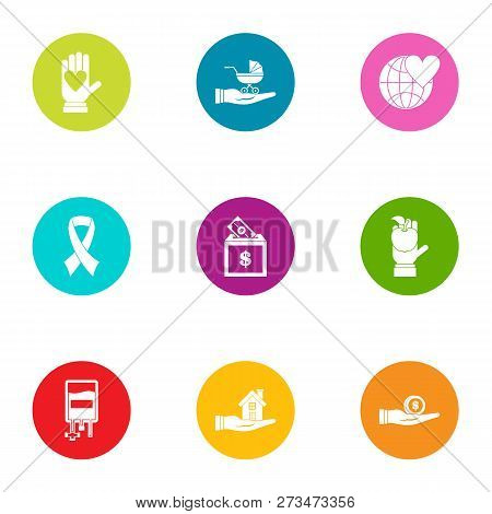 Global subsidy icons set. Flat set of 9 global subsidy icons for web isolated on white background poster