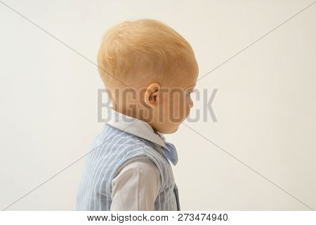 Fashion Statement. Adorable Fashionist. Small Child. Boy Child With Fashion Look. Small Baby In Fash