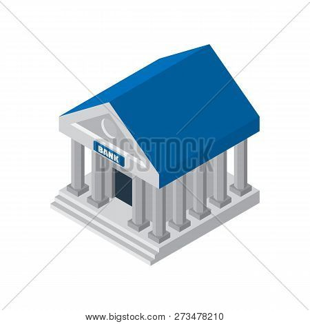 Bank Finance Building Illustration Icon Isolated. Symbols Of Business And Finance: Money, Safe, Case