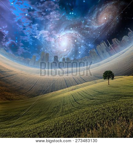 Beautiful landscape with city at the horizon. Starry galaxies in night sky. 3D rendering