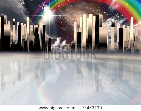 Heavenly City. Galaxies and vivid rainbow in the sky. 3D rendering
