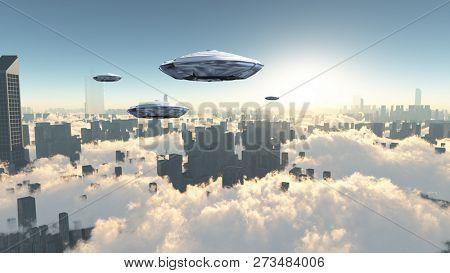 Flying saucers over futuristic megapolis. Sunrise. 3D rendering