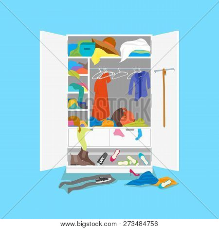 Cartoon Untidy Wardrobe Card Poster On A Blue Background. Vector