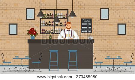 Interior Of Cafe Or Bar In Loft Style. Bar Counter, Bartender In White Shirt With Glasses Of Champag