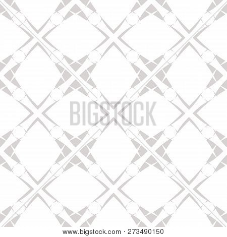 Subtle Grid Vector Seamless Pattern. Abstract Geometric Monochrome Texture With Diagonal Cross Lines