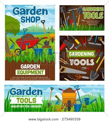 Garden Shop And Gardening Agriculture Equipment Tools. Vector Farm Spade, Rake Or Pitchfork And Whee