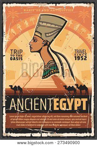 Ancient Egypt Culture Landmarks Tours And Historic Travel. Vector Ancient Egyptian Nefertiti Princes