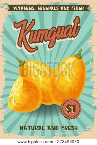 Kumquat Exotic Fruit Poster With Farm Market Price. Vector Agriculture Tropical Cumquat Cut Slice An