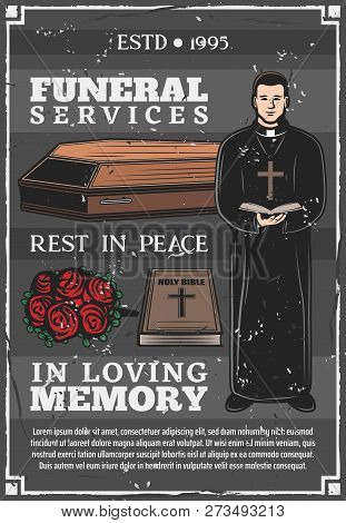 Funeral Service, Mortuary And Burial Ceremony Agency Or Company Poster. Vector Priest With Bible In