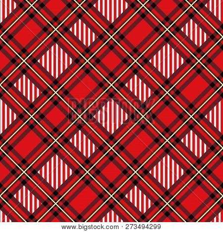 Menzies Tartan Red Kilt Diagonal Fabric Texture Seamless Pattern.vector Illustration. Eps 10.