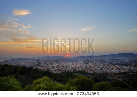 Beautifull Sunset On Athens From Filopappou Hill