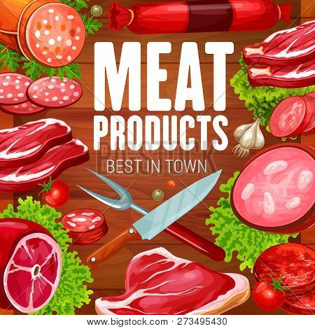 Butchery Meat Products And Butcher Shop Sausages. Vector Grocery Store Meaty Sausages, Beef Steak Or