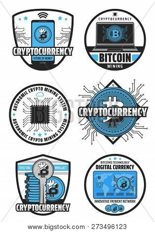 Bitcoin Cryptocurrency, Digital Currency Mining And Blockchain Technology. Vector Icons Of Crypto Cu