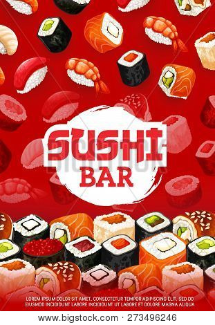 Sushi Bar Menu Of Sushi Rolls, Sashimi And Maki Pattern. Vector Japanese Cuisine Dishes, Shrimp Gunk