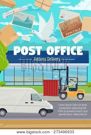 Post office and mail delivery of newspapers, letter envelopes with stamps. Vector correspondence postage services, shipping pickup van, courier at post warehouse on loader pallet truck poster