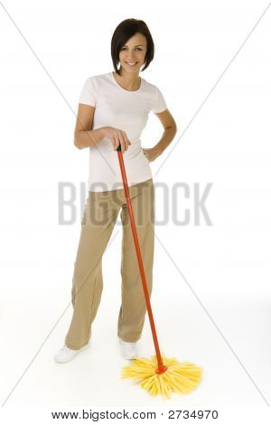 Happy Woman With Mop