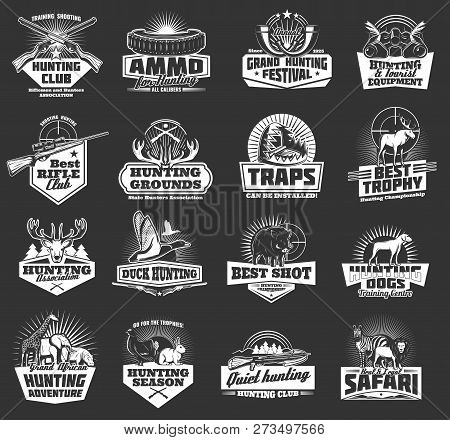 Hunting Sport, Hunter Ammo And Hunt Trophy Animals Heraldic Icons. Vector Hunting Club Badges, Afric