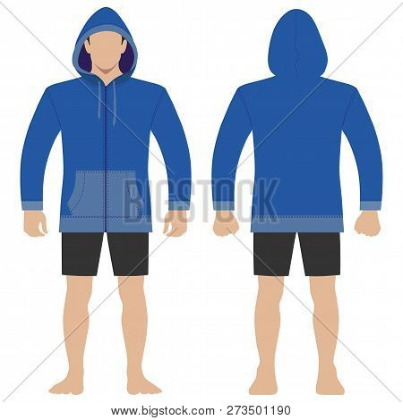 Fashion Man Body Full Length Template Figure Silhouette In Shorts And Zip Fastener Hoodie (front, Ba