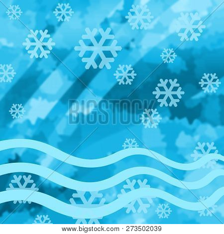 Winter Frozen Background With Cold Ice And Snowflakes