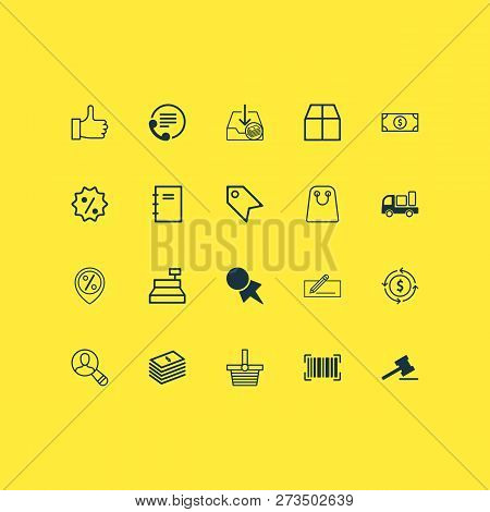 E-commerce Icons Set With Shopping Bag, Find Audience, Currency Interchange And Other Recommended El