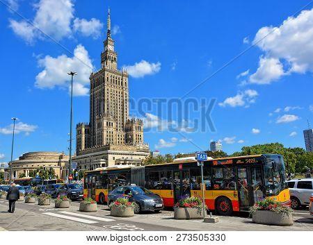 Warsaw Urban Landscape. Public Transport And Architectural Landmarks. Palace Of Culture. City Busine