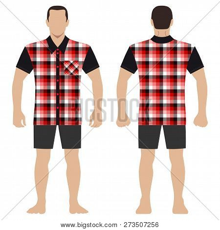 Fashion Man Body Full Length Template Figure Silhouette In Shorts And Tartan Shirt (front, Back View