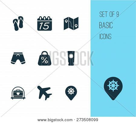 Journey Icons Set With Label, Flip Flops, Airplane In The Sky And Other Beach Sandal Elements. Isola
