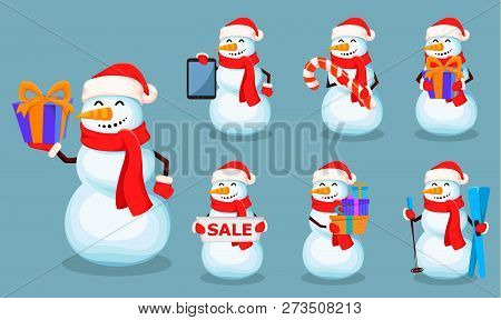 Christmas Greeting Card With Cute Snowman. Funny Cartoon Character, Set Of Seven Poses. Usable For B