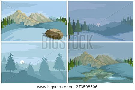 Winter Landscape. Christmas Colorful Nature. Hand Drawn Winter Scene With Christmas Landscape. Сhris
