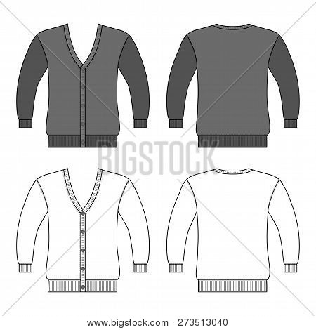 Cardigan Man Template (front, Back Views), Vector Illustration Isolated On White Background